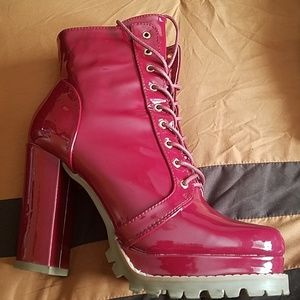 Wine color combat boots worn once